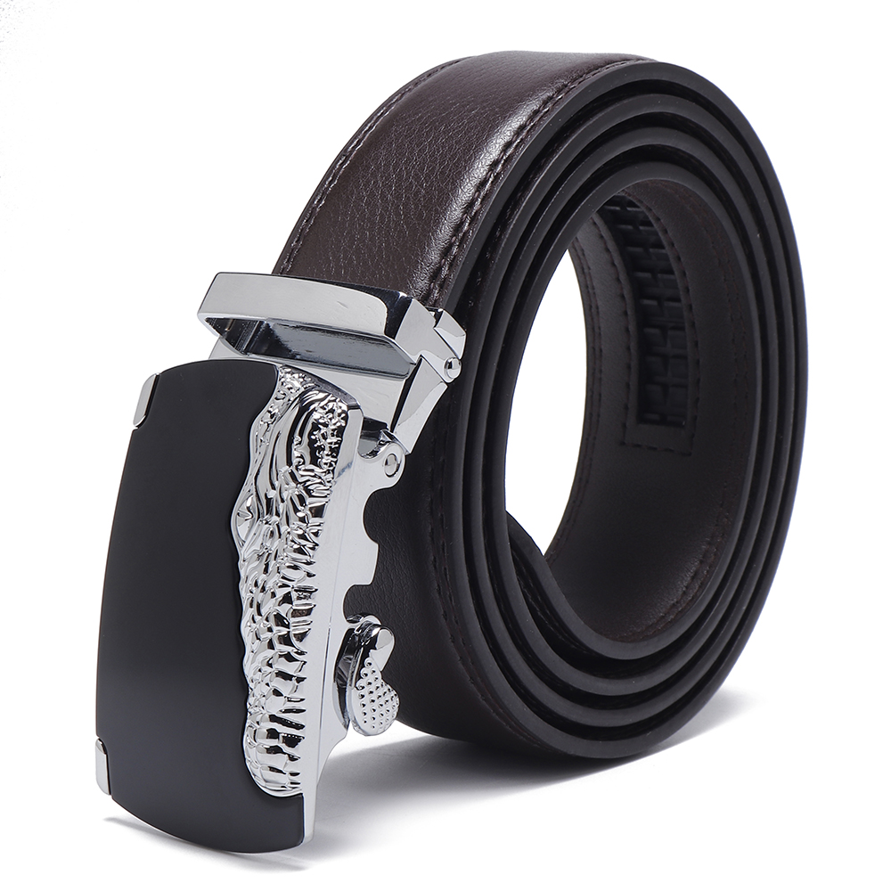 Mens Business Two-Layer Leather Embossed Waist Belt