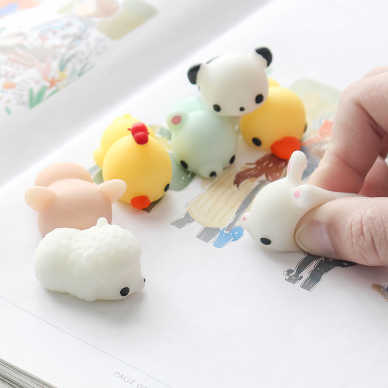 6PCS Polar Bear Bunny Sheep Pigeon Caterpillar Squeeze Squishy Healing Toy Collection