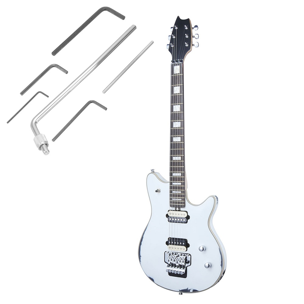 22 Frets Electric Guitar Basswood Body Rose Bridge Maple Neck White Color Music Instrument