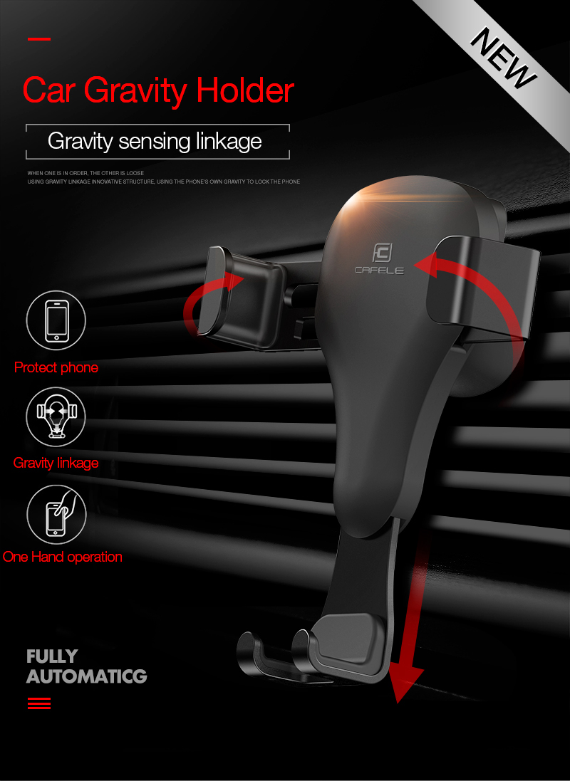 CAFELE Gravity One-hand Operation Car Air Vent Phone Holder Stand for iPhone Samsung Cell Phone