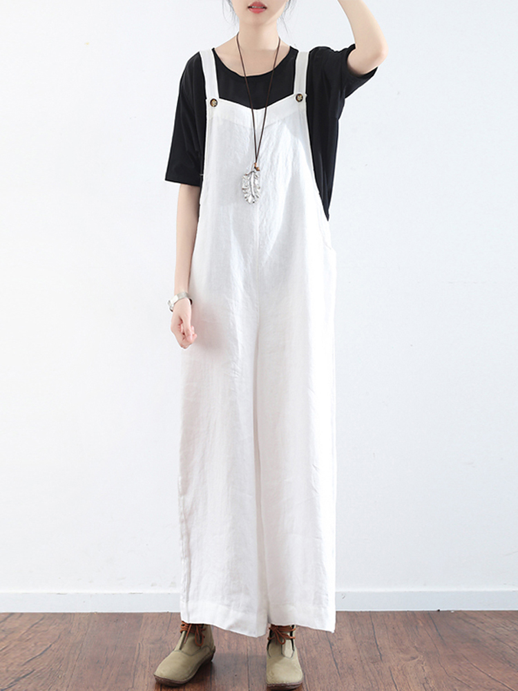 Women Sleeveless Strap Button Wide Leg Jumpsuit