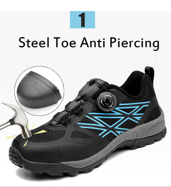 Men's Steel Toe Lightweight Bulletproof Midsole Safety Slip-on Sports Athletic Hiking Shoes Sneakers