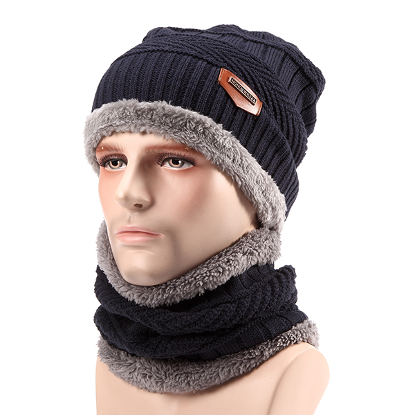 Unisex Thick Knitting Skull Ski Cap Soft Lined Slouchy Beanies Hat Scarf Set