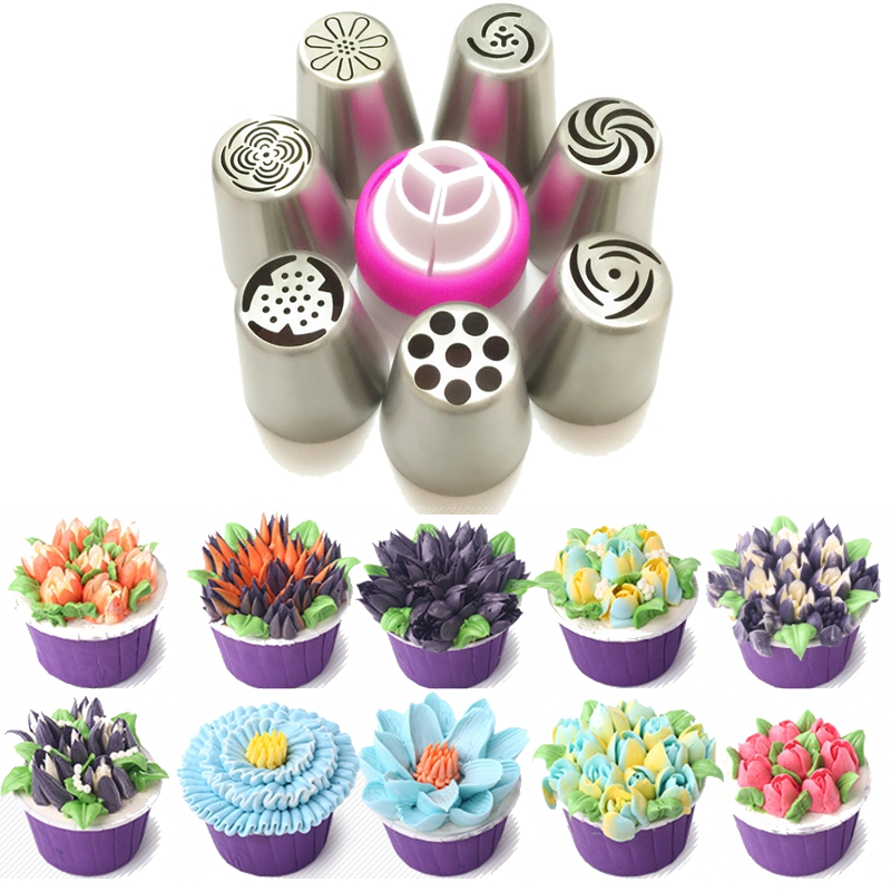7Pcs Set Stainless Steel Russia Tulip Icing Piping Nozzle Converter Cake Decorating Tips Baking Tool