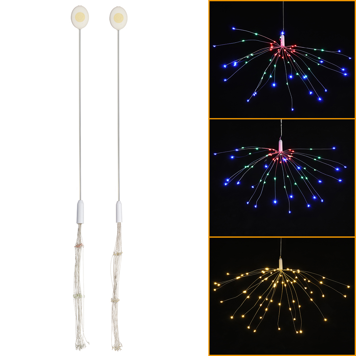 Button Battery Supply 3 Modes DIY LED Firework Fairy String Light Christmas Party Decor