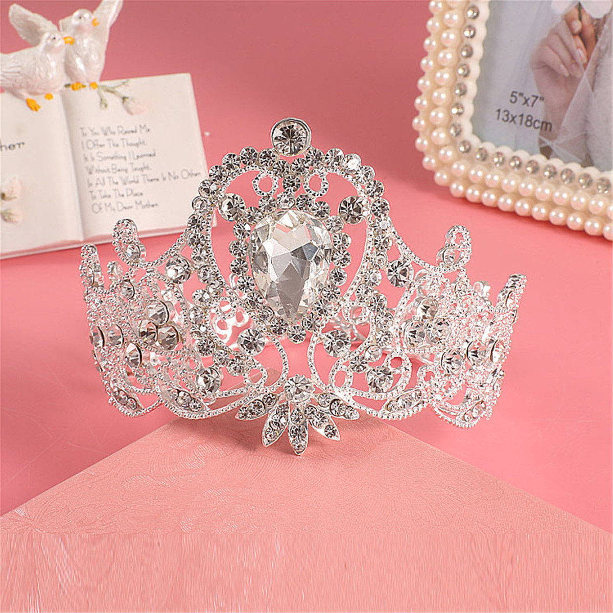 Bride Diamond Crystal Rhinestone Crown Vintage Wedding Bridal Headbrand Queen Tiara Hair Accessories