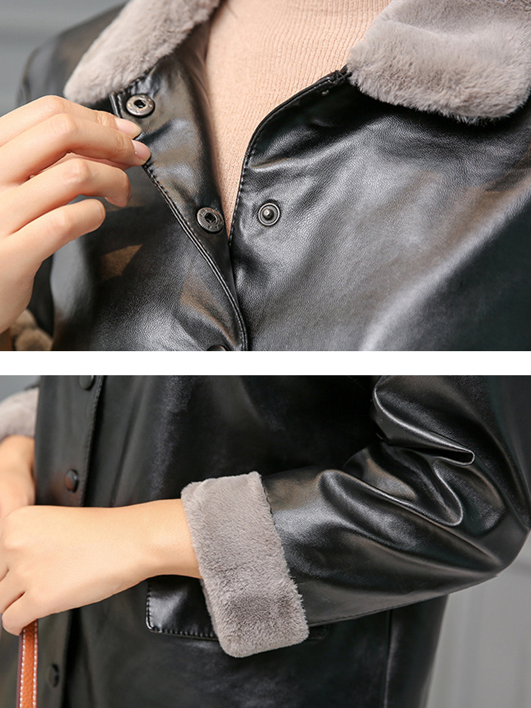 Women Button PU Leather Trench Coat