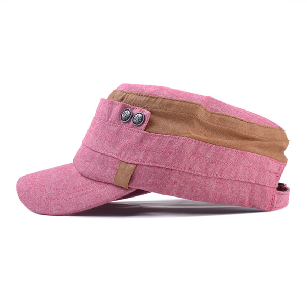 Women Vintage Cotton Flat Top Hat Outdoor Casual Sunscreen Visor Snapback Hat Adjustable
