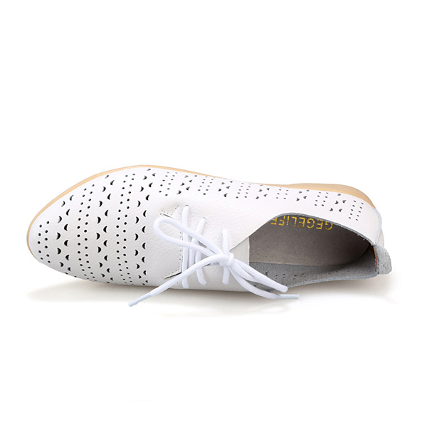 Women Hollow Out Casual Shoes Leather Soft Comfortable Lace Up Flat Loafers