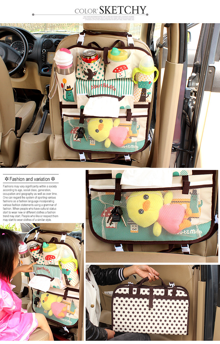 Cartoon Car Seat Storage Bag Universal Waterproof Baby Stroller Bag Organizer Infant Car Hanging Basket Storage Stroller Accessories