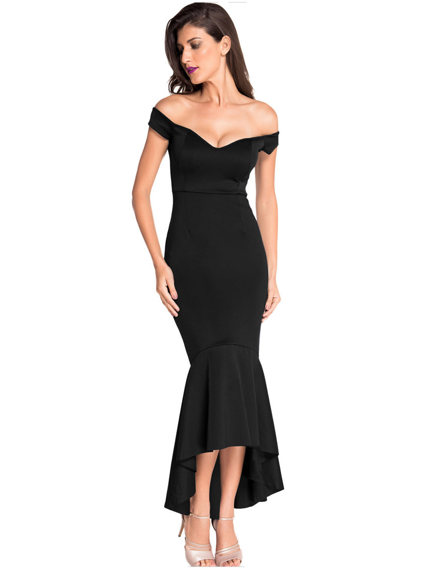 Sexy Off Shoulder Bodycon Party Women Asymmetrical Mermaid Dress