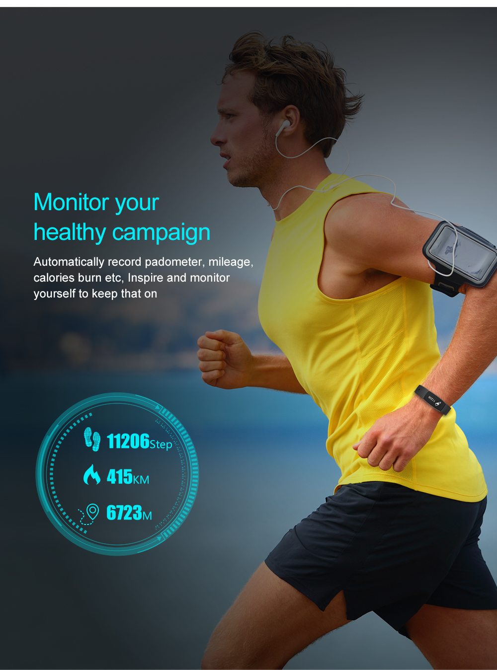 KALOAD D08A Smart Bracelet Heart Rate Blood Pressure Monitor IP67 Waterproof Smart Watch for Android IOS