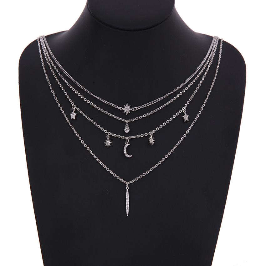 Trendy Multilayer Pendant Necklace Moon Star Bar Chain Charm
