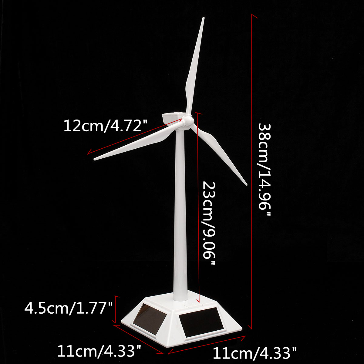 Plastic Solar Powered Windmill Wind Mill Turbine Teaching Tool & Desktop Display Tray Holder