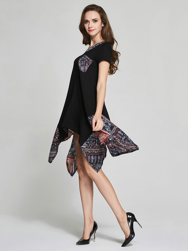 Asymmetrical Women Casual V-Neck Floral Printed Stitching Dresses