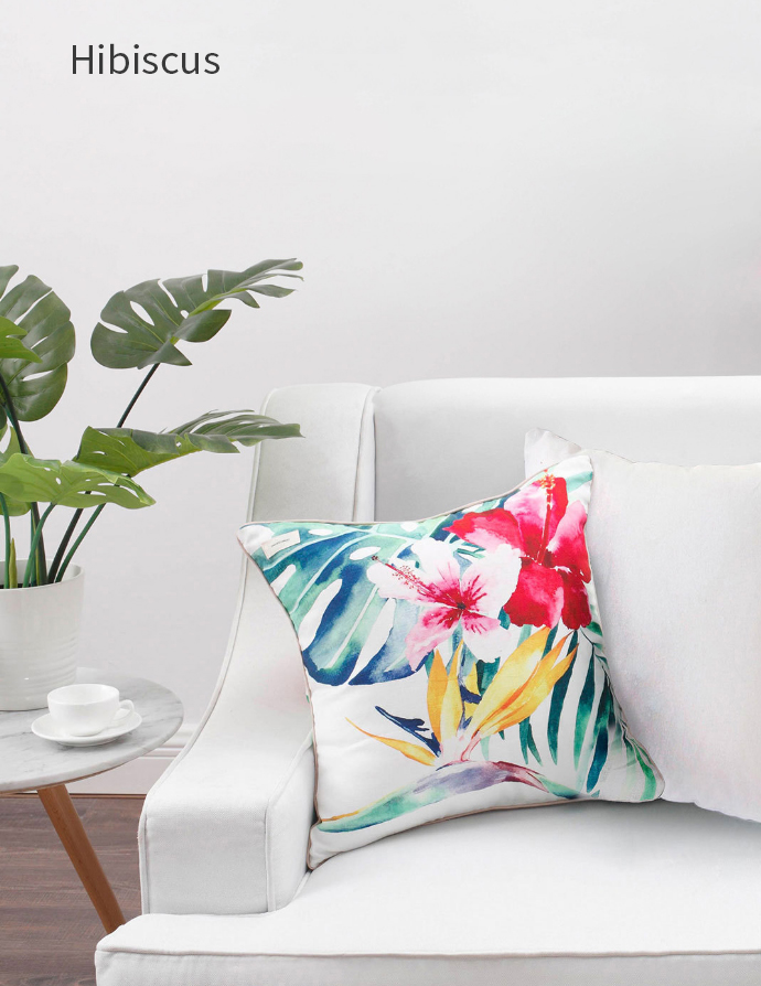 XIAOMI COMO LIVING Tropical Rainforest Hand-painted Pillow Cotton Cushion Flowers Floral Pillow For Sofa Chair