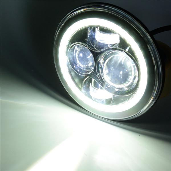 7inch H4 H13 DC10-30V LED Headlight Hi/Lo Halo Angel Eyes for Harley Jeep Wrangler