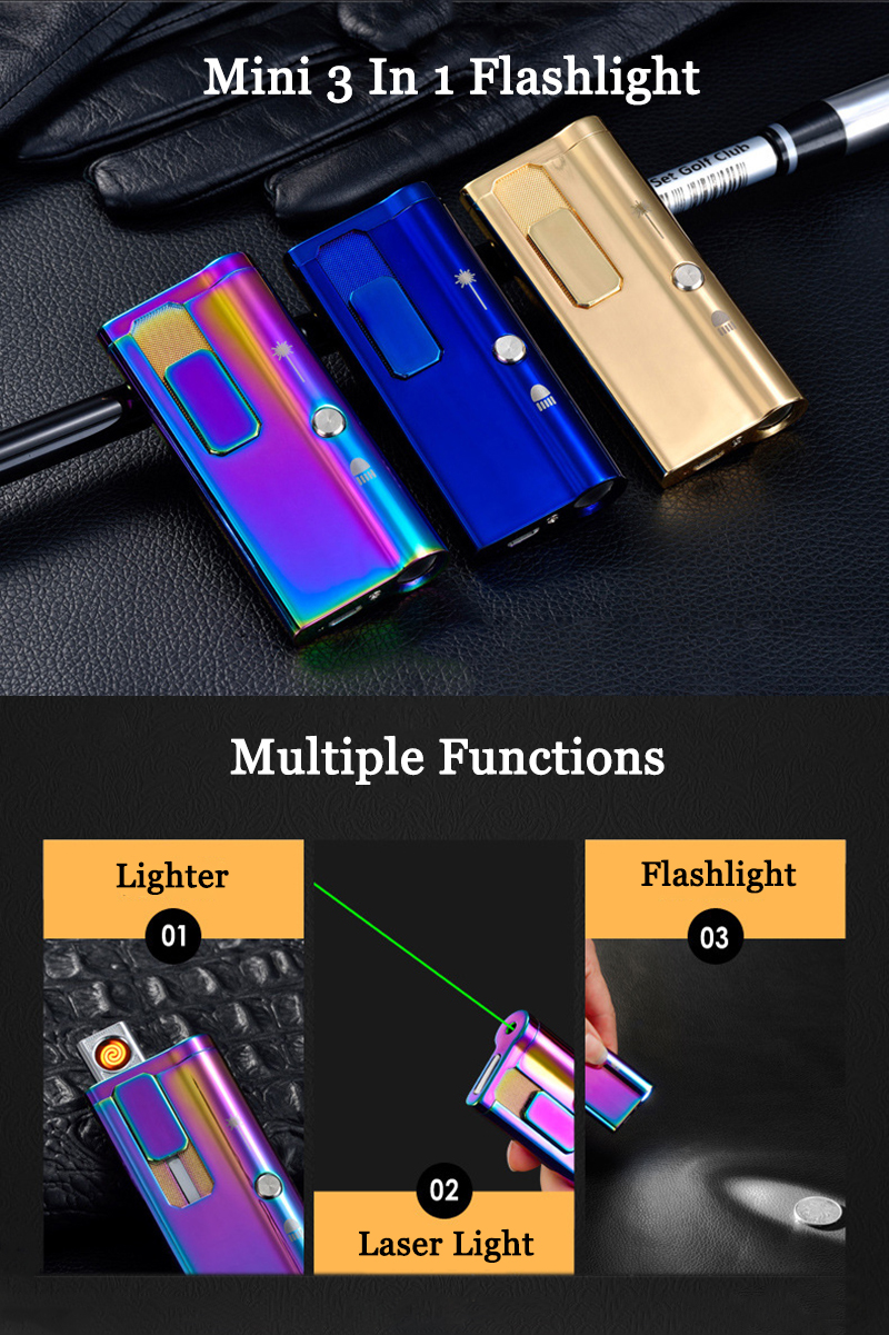 3 in1 Creative Surface Treatment USB Rechargeable Windproof Lighter & High Power Green Laser Pointer & 3Modes Dimming LED Flashight