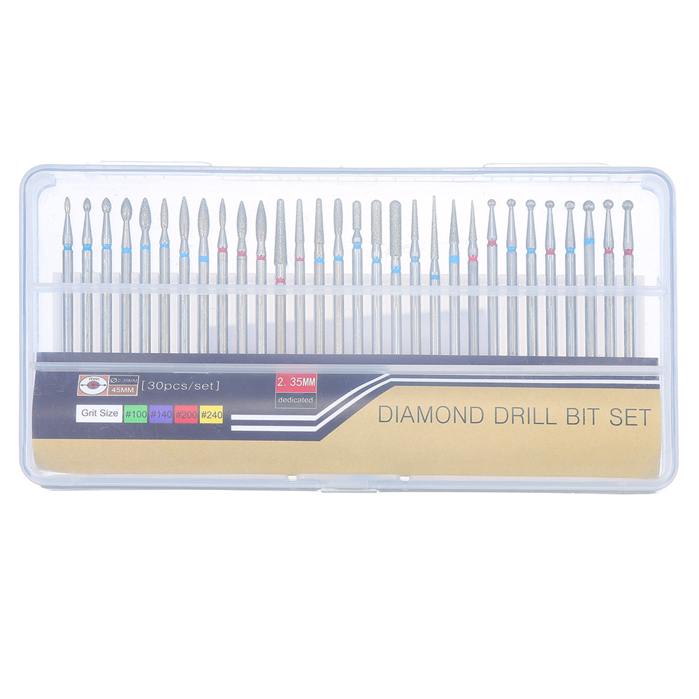 30pcs 3/32 Inch Diamond Nail Drill Bits Set for Art Nail Cuticle Manicure Pedicure Tools