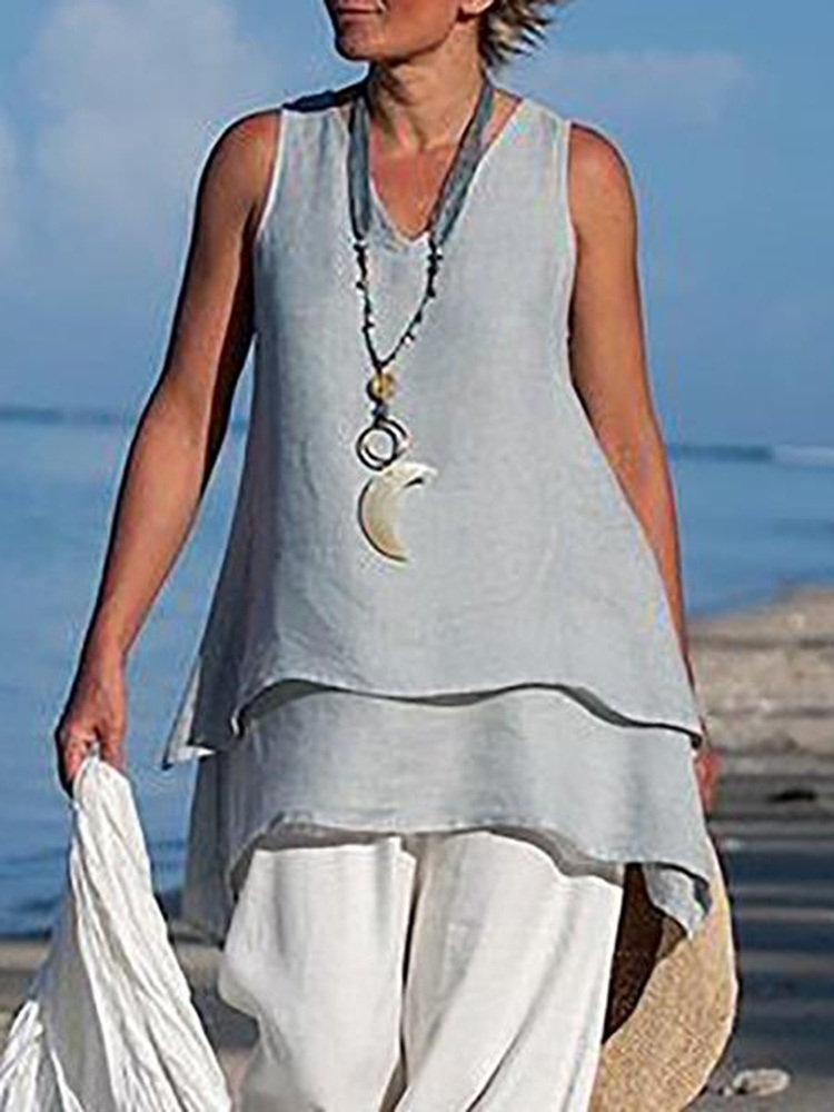 Women Retro V-neck Sleeveless Layers Solid Color Tank Tops