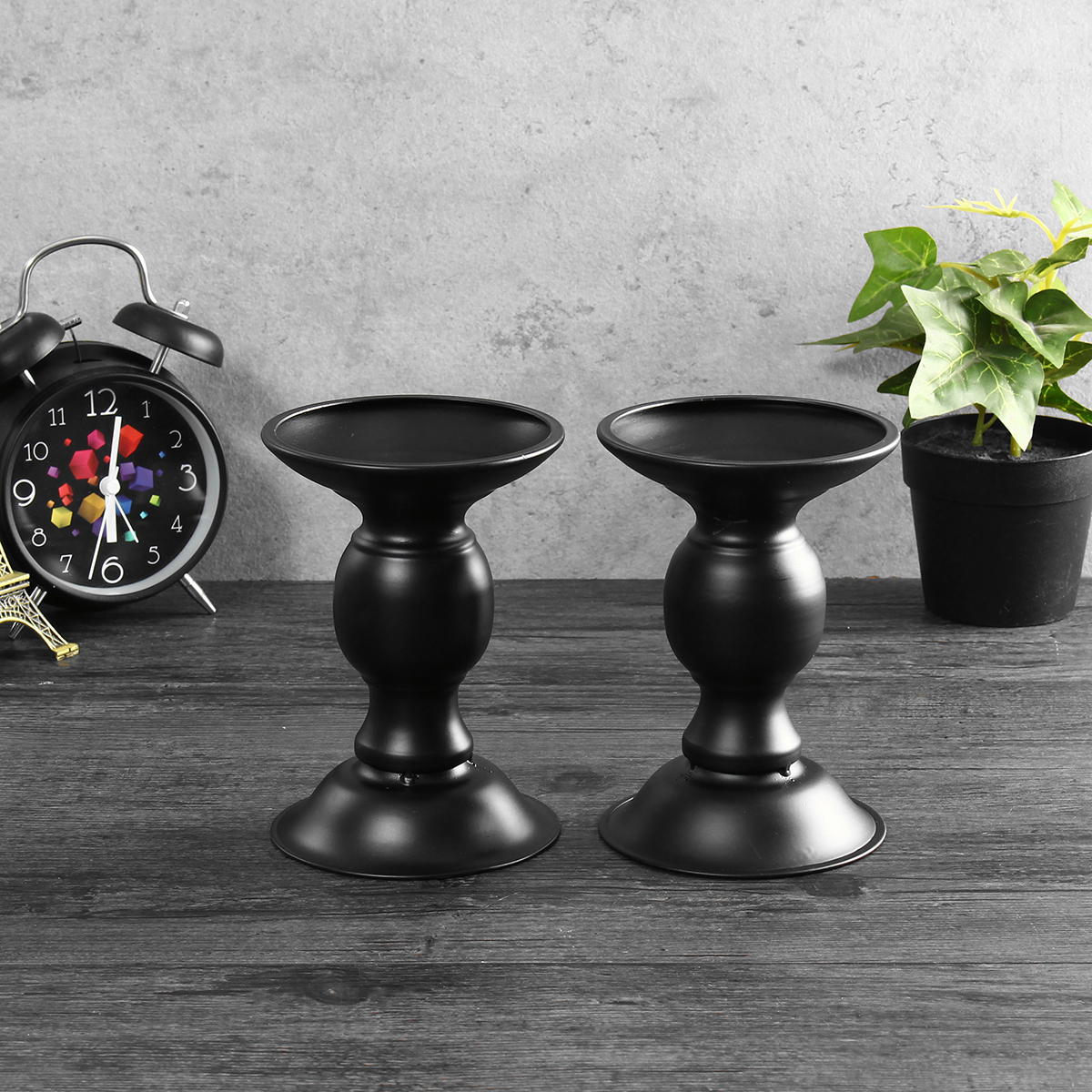 2Pcs Vintage Carved Pillar Candle Holder Candlesticks Stand Wedding Party Decor Black