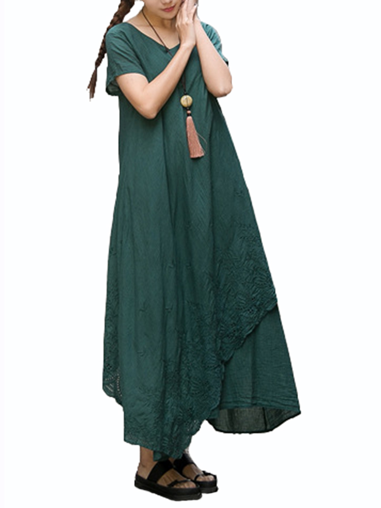 Vintage Women Embroidery Pure Color Short Sleeve Loose Maxi Dress