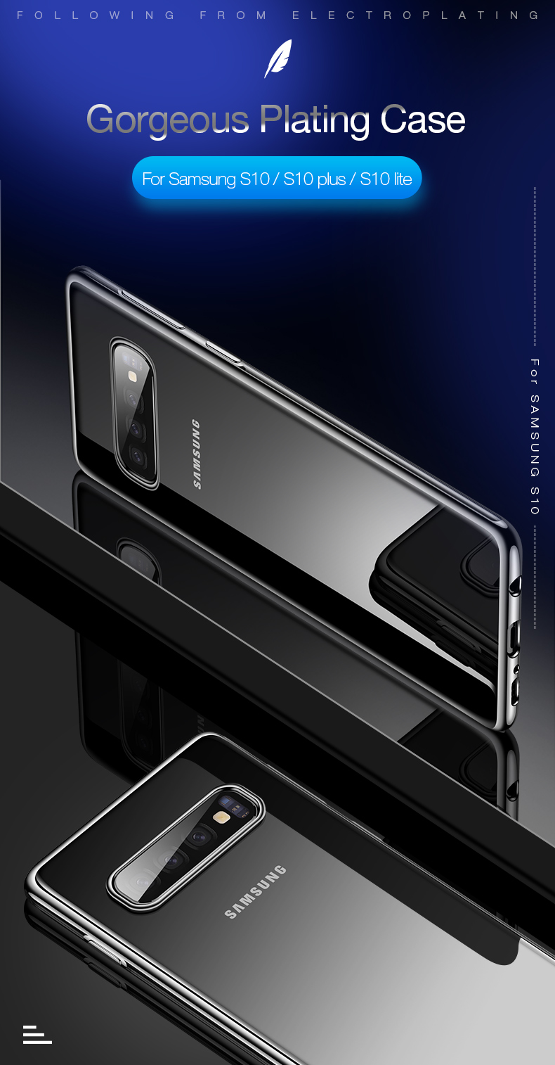 Cafele Protective Case For Samsung Galaxy S10 Plus 6.4 Inch Clear Plating Anti Fingerprint Soft TPU Back Cover