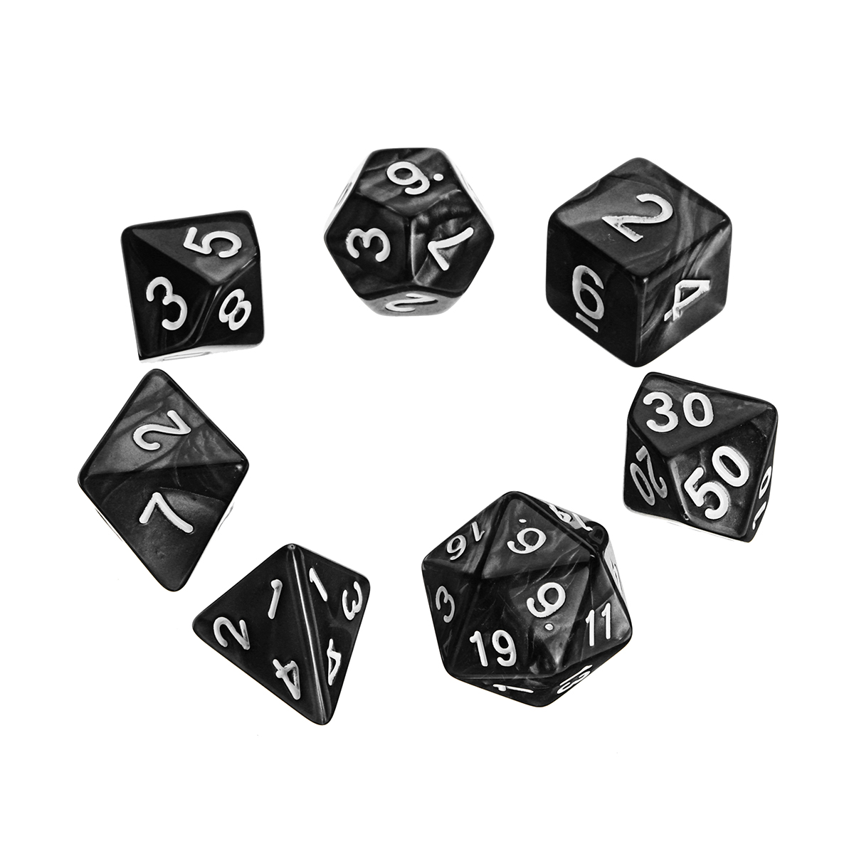 Portable Fold Dice Tray PU Leather with 7 Polyhedral Dice for Tabletop Dice Games
