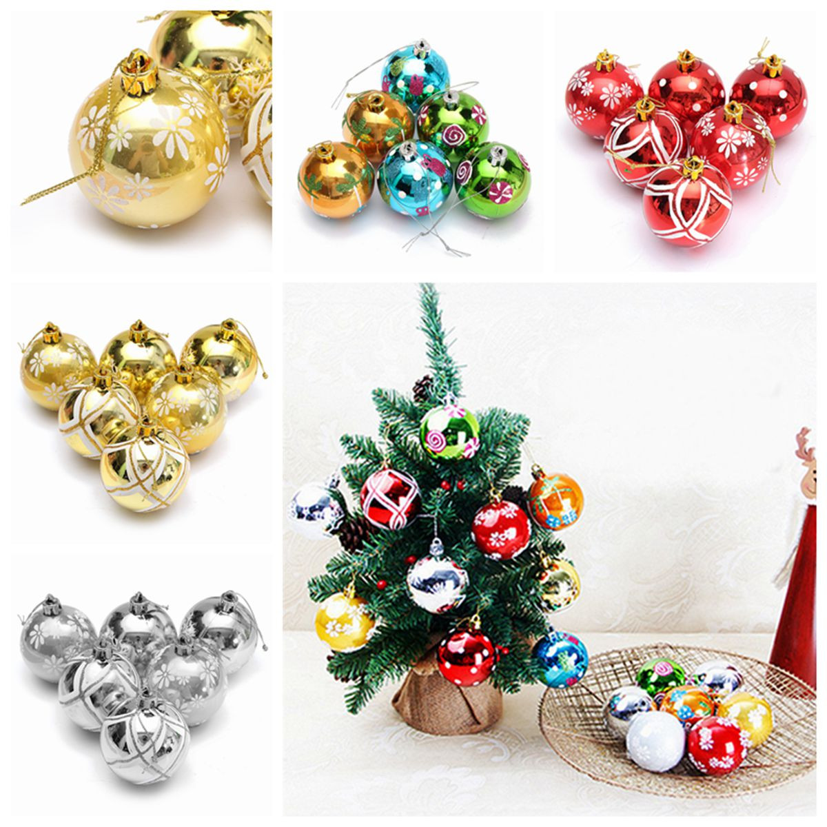 Plastic Christmas Baubles Handmade & Painted Ball Tree