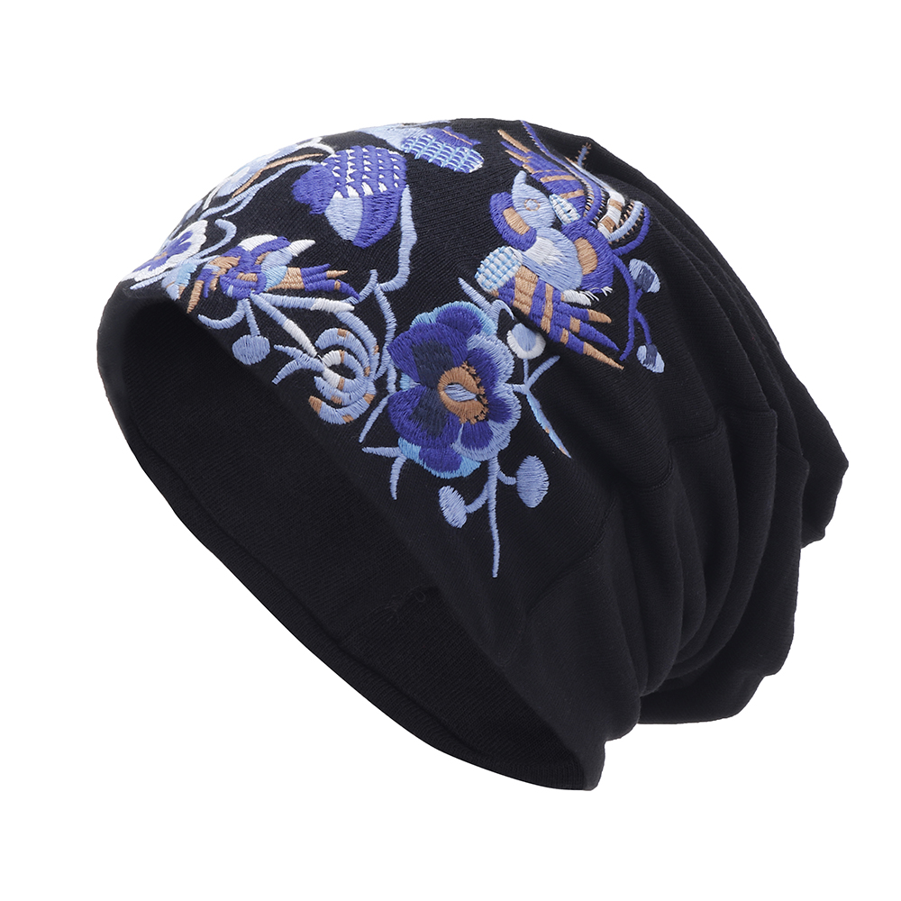 Womens Vintage Floral Embroidered Beanie Caps