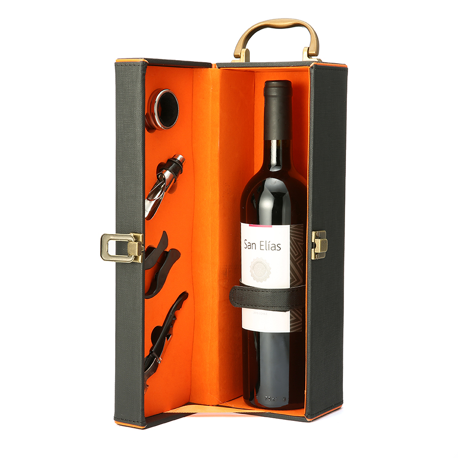 KCASA KC-WG01 5Pcs Wedding Leathern Wine Bottle Gift Box Set With Corkscrew Pourer Collar Cutter