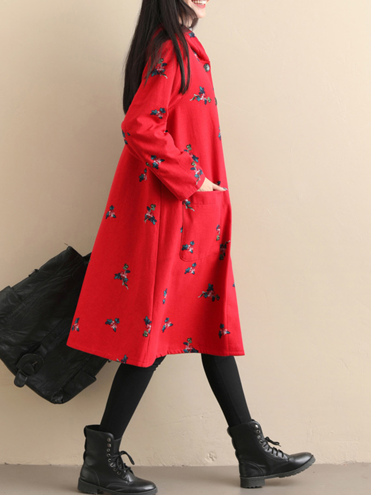 Vintage Women Floral Print Long Sleeve Fleece Thicken Hooded Coats