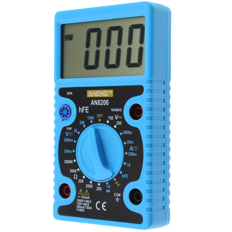 ANENG AN8206 Digital Multimeter Ampere Voltage Ohm Tester Buzzer Square Wave Output with Probes