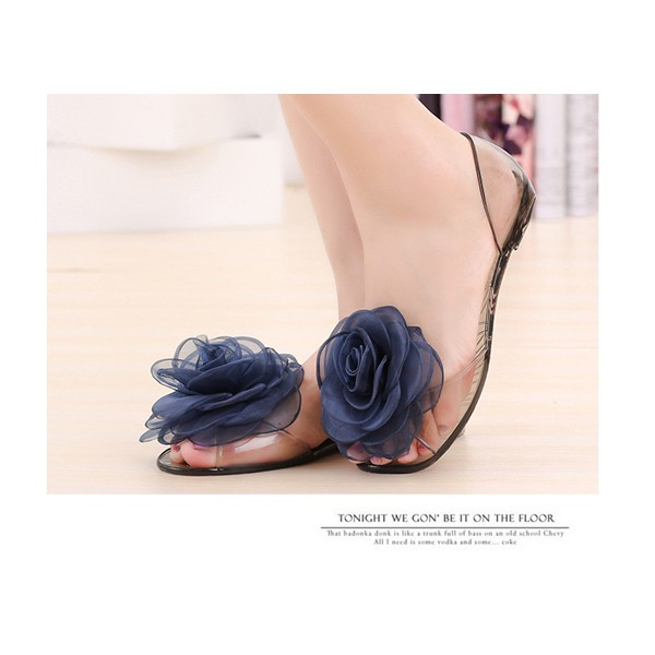 Women Summer Flower Lace Transparent Peep Toe Slip On Beach Flat Sandals Slippers