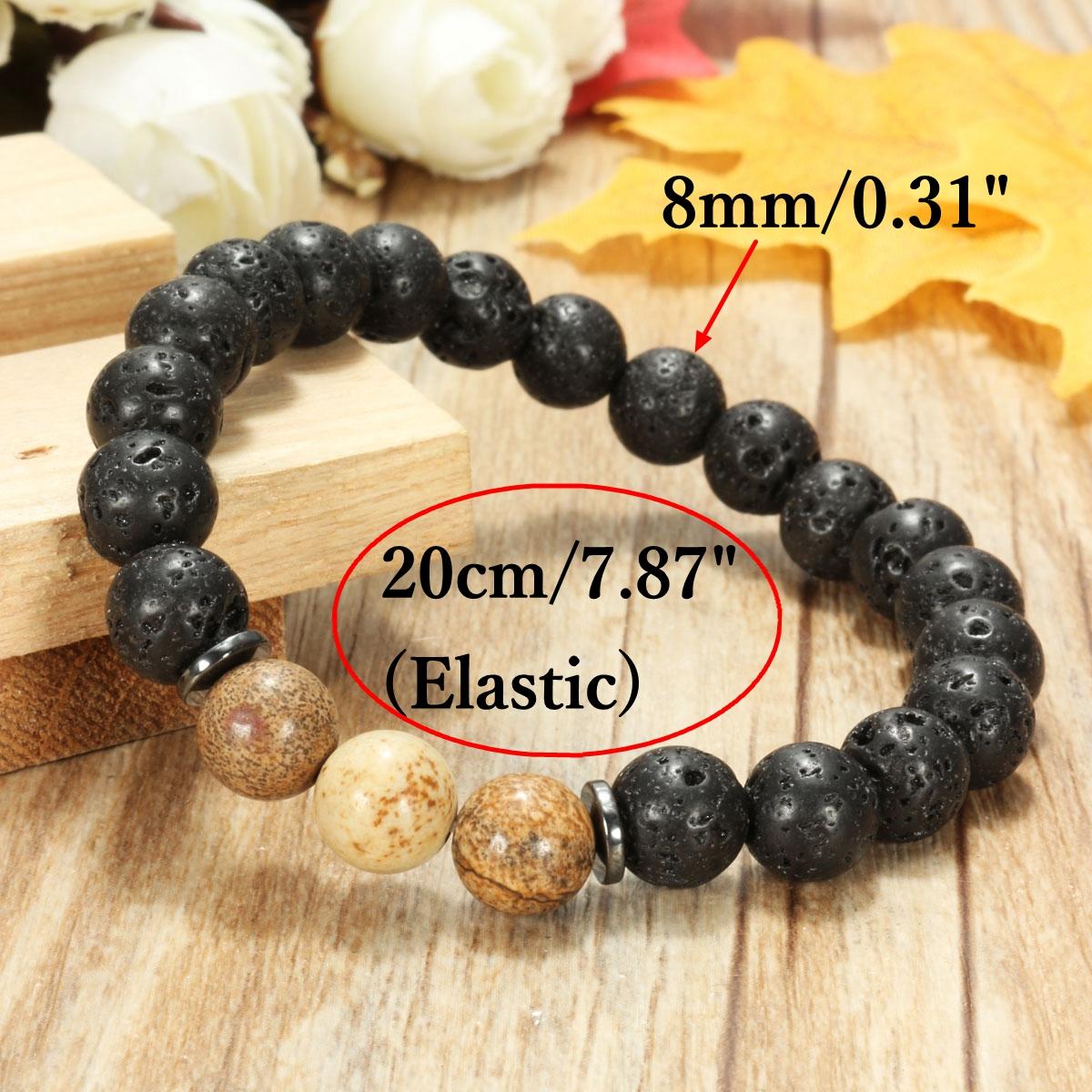 8mm Lava Beads Black Gallstone Men Bracelet Chain