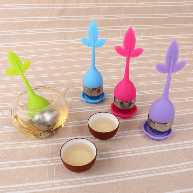 4 Colors Silicone Tea Strainer Portable Travel Leaf Pattern Tea Making Tools for Tea Dregs Filter