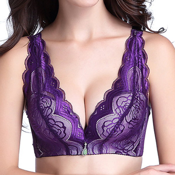 Sexy Deep Plunge Wireless Lace-trim Soft Push Up Embroidered Breathable Bras