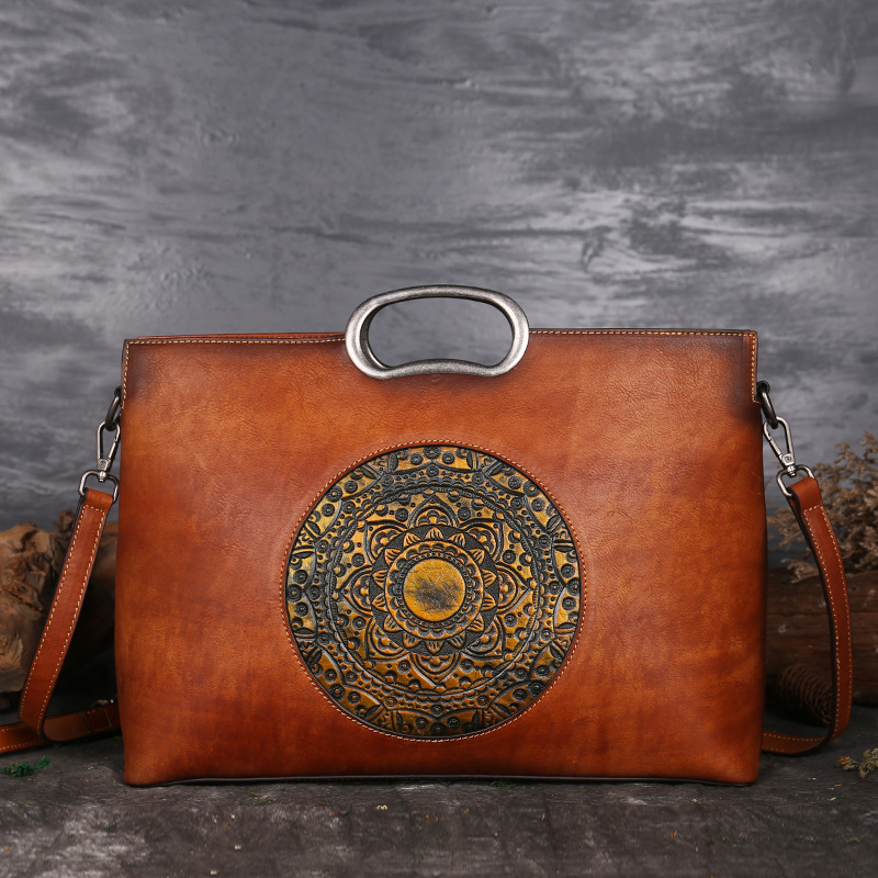 Women Vintage Genuine Leather Embossed Handbag
