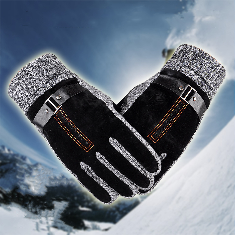 Winter Men's Anti Skid Windproof Thermal Cycling Gloves Faux Suede Outdooors Sports Gloves