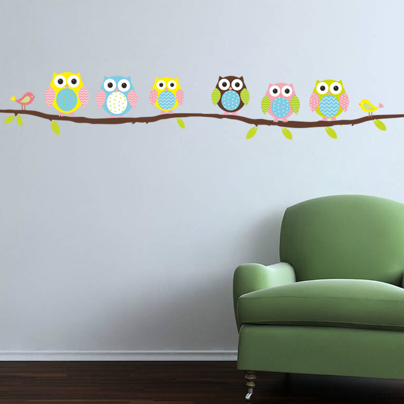 Owl Branch Tree Children Bedroom Living Room Living Room Wall Sticker Waterproof Can Be Removed