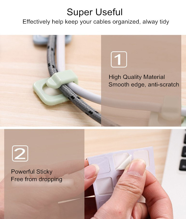 Bakeey 18 PCS Powerful Sticky Wall Holder Desktop Cable Clip Organizer Wire Management