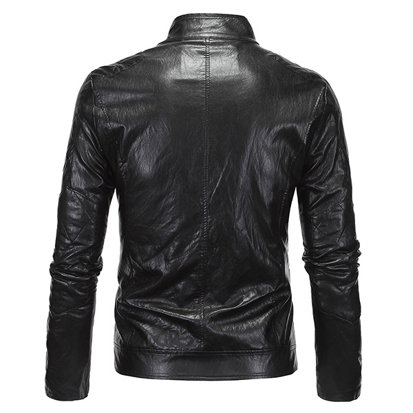 Plus Size Mens Punk Style PU Leather Jacket Stand Collar Motorcycle Cool Black Coat