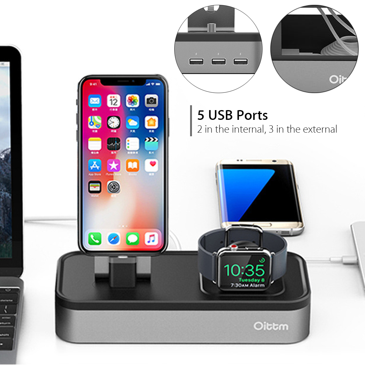 Oittm US Plug 5 Ports Charging Dock Watch Phone Holder For Apple Watch Series 3/2/1/iPhone X/Samsung