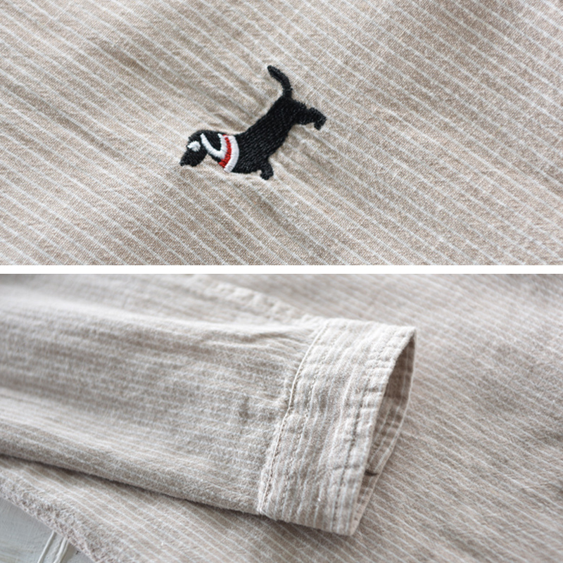 TWO-SIDED Dog Embroidery Cotton Breathable Striped Men Shirt