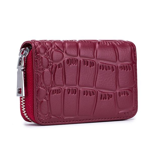 Women Genuine Leather Stone Pattern 16 Card Slots Wallet