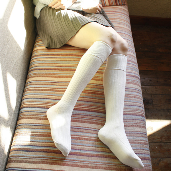 Women Girls Knitted Stripe Cotton Blend Over Knee Stocking Elastic Stretchable High Tight Socks