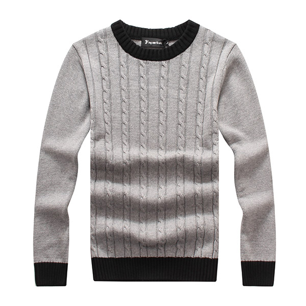 Mens Thick Contrast Color Collar Pullover Sweater O-neck Knitwear 4 Colors