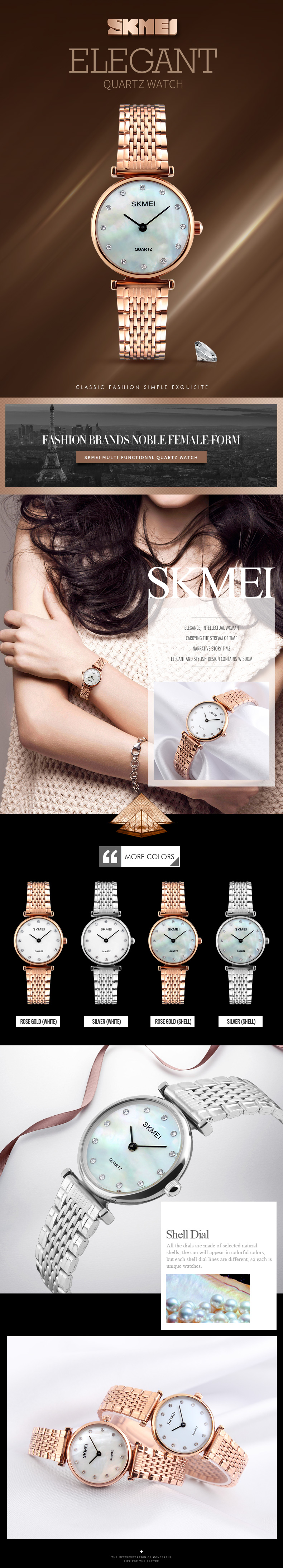 SKMEI 1223 Rhinestones Waterproof Ladies Wrist Watch