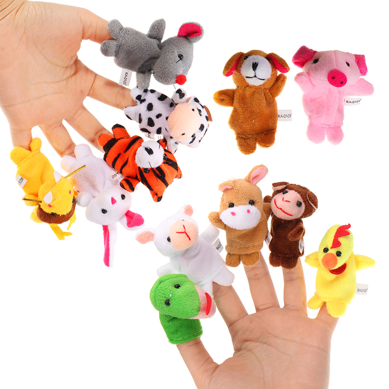 12PCS Animal Finger Puppets Stuffed Plush Toy Chinese Zodiac Soft Cloth Animal Doll Baby Story Toys