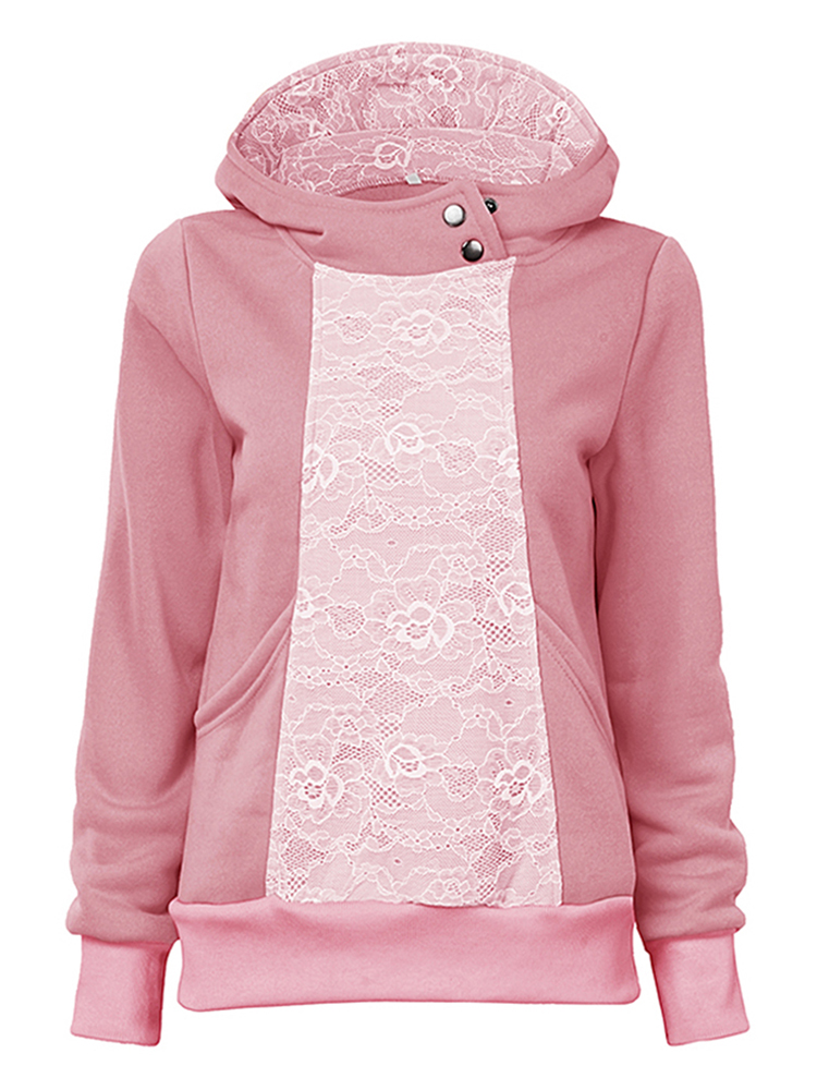 Casual Lace Patchwork Hooded Long Sleeve Loose Sweatshirt